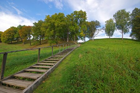 clambering: Picture of stairs to the hill in Dubingiai, near Vilnius in Lithuania.