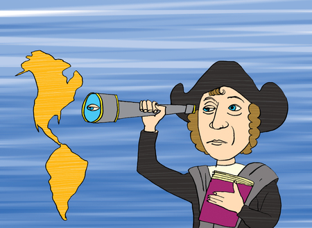 Christopher Columbus and America, cartoon Stock Photo
