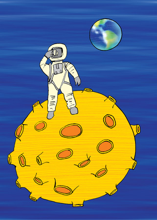 man on the moon: Man on the moon, cartoon