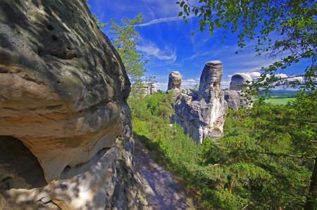 stoney: View of sandstone rockies and wood in cesky raj, bohemia, czech republic