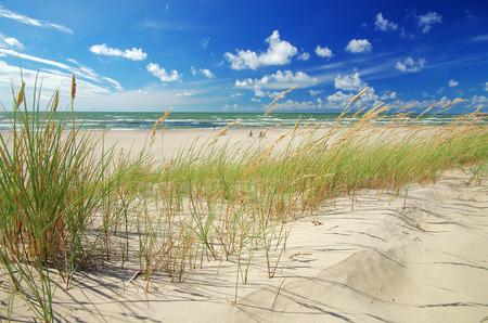 Grass sand dune beach sea view, ventspils, latvia Stock Photo