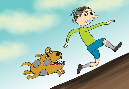 Man run away from angry dog, cartoon