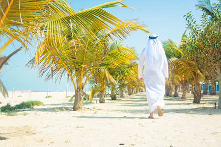 agal: Arabian Man Walking Among Palm Trees