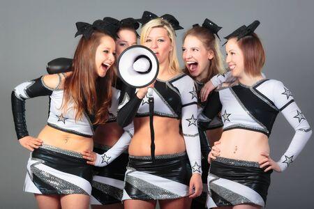 Cheerleader Team With Megaphone