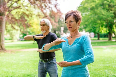Senior Couple Doing Tai Chi In Park, Tuebingen, Germany