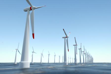 Off-shore Wind Power Station Stock Photo