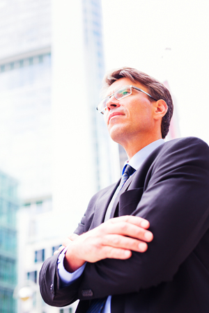 only one mid adult male: Businessman In Frankfurt main Stock Photo