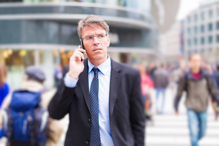 Businessman In The Street Stock Photo