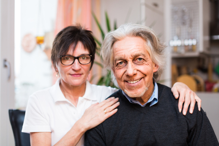80s adult: Nurse With Senior Man Stock Photo