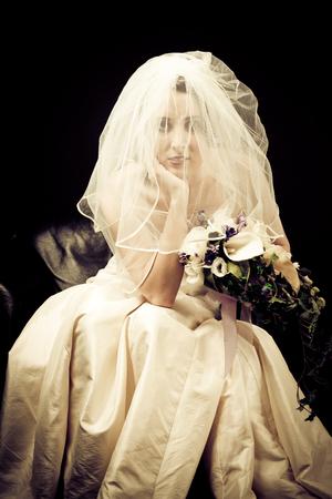 Studio Shot of a Beautiful Bride Stock Photo