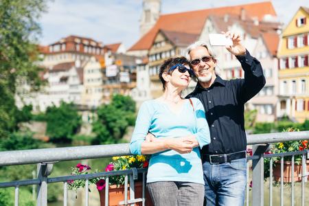 Senior Couple Enjoying Their Trip To Tuebingen, Germany