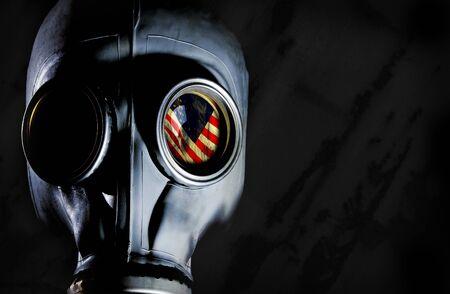 chemical warfare: Gas Mask - Usa Flag Stock Photo