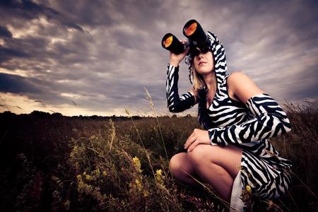 vistiendose: Cebra salvaje que busca muestras del peligro