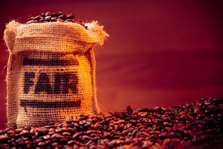 Fairtrade Coffee Beans Foto de archivo - 70671303