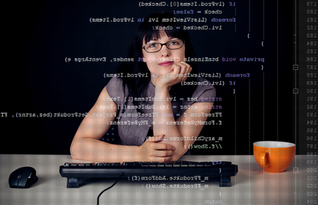 Young Woman Writing A C-Sharp Program