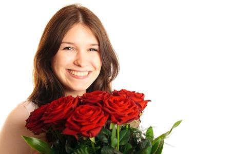 mujer con rosas: Mujer joven con las rosas Foto de archivo