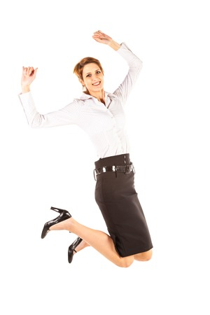 only young women: Jumping Businesswoman