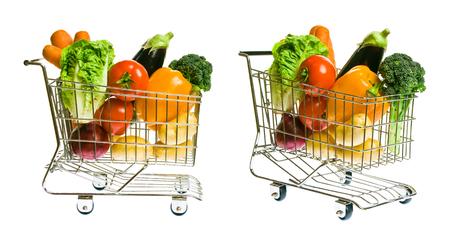 berenjena: Cesta de la compra con verduras