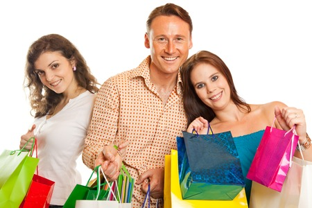 shopping spree: Group Of Young People Enjoying Their Shopping Spree Stock Photo