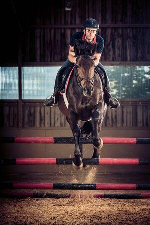 uomo a cavallo: Ambientazione interna cavallo Jumping