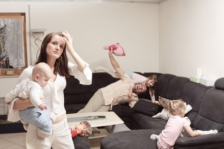 Stressed Mother With Family