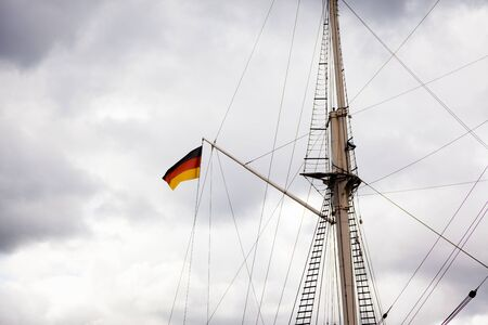 German Flag On A Sailing Ship