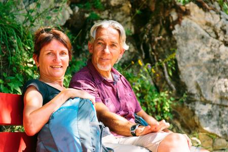 Hiking Senior Couple Stock Photo