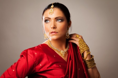 jewellry: Young Woman Wearing Bollywood-style Sari