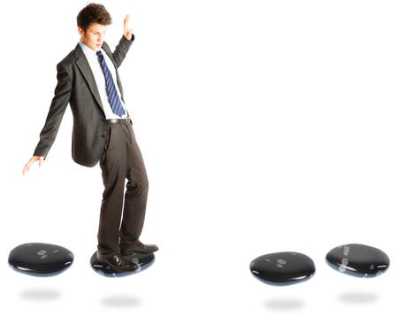 stepping: Businessman On Stepping Stones