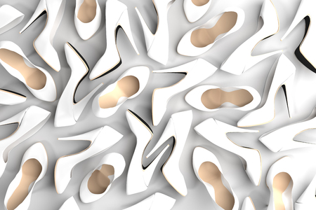 Lots of White Shoes, Computer Render Stock Photo