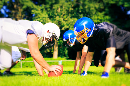 American Football Players Facing Each Other 写真素材
