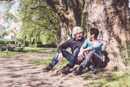Senior Couple Resting In A Park, Tuebingen