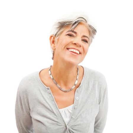 Happy Senior Woman On White Background