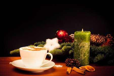 Christmas Still Life With Cup Of Coffee Stock Photo