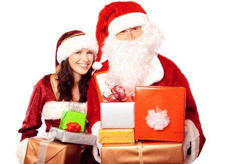 Mr And Mrs Santa Claus With Gifts Imagens - 89814777