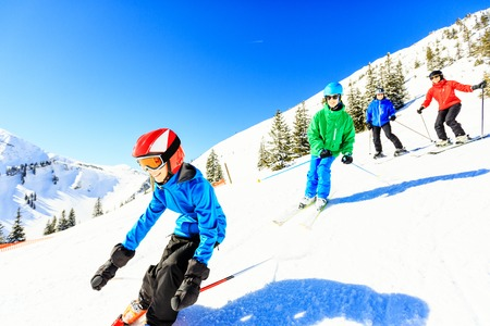 Skiing Family Of Four