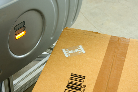 Rfid Label On Box Stock Photo