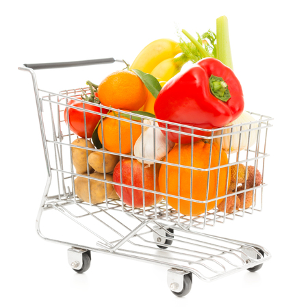 Shopping Cart With Vegetables And Fruit, Diagonal View