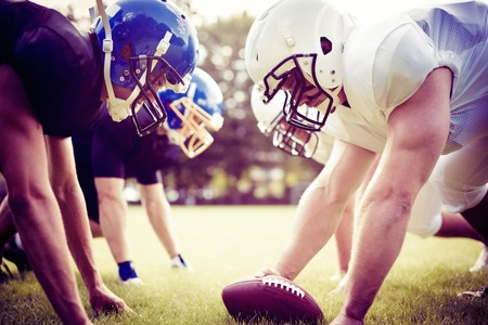 American Football Players Facing Each Other Stock Photo