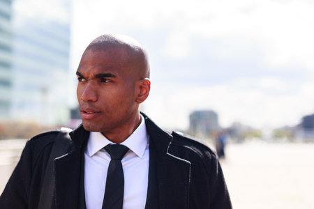 Black Businessman In La Defense, Paris Stock Photo