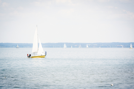 Small Sailboat On The Chiemsee Stok Fotoğraf