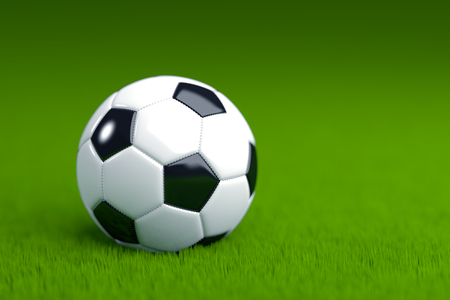 Soccer Ball on Grass 3D Render Stock Photo