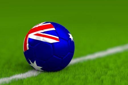 Soccer Ball With Australian Flag 3D Render Stock Photo