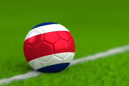 Soccer Ball With Costa Rican Flag 3D Render Stock Photo