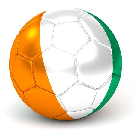 Soccer Ball With Ivorian Flag 3D Render Banque d'images - 99355393