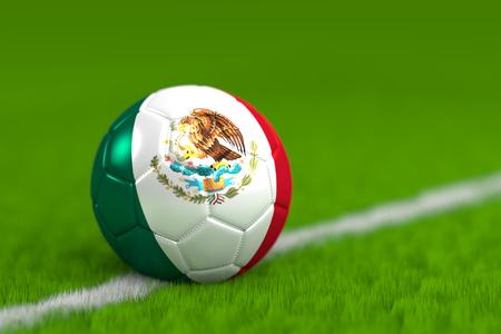 ballon de football avec le drapeau mexicain 3d render