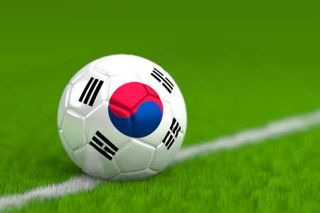 Soccer Ball With South Korean Flag 3D Render