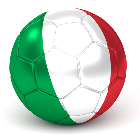 a soccer ball with flag of italy, isolated on white