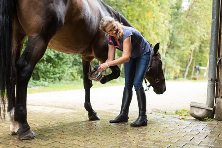 Woman Checking Her Horses Hooves