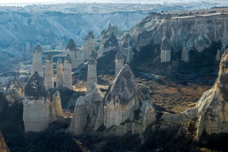 The valley of love in Goreme Cappadocia Turkey during the winter months. Nevsehir Imagens